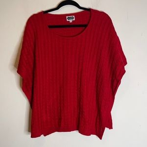 Mudpie red Cable knit Poncho sweater